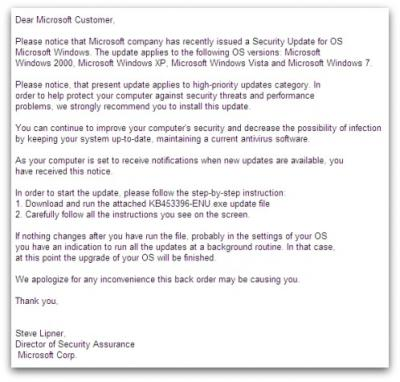 Fake Microsoft security update email