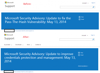 Microsoft Security Advisory title change